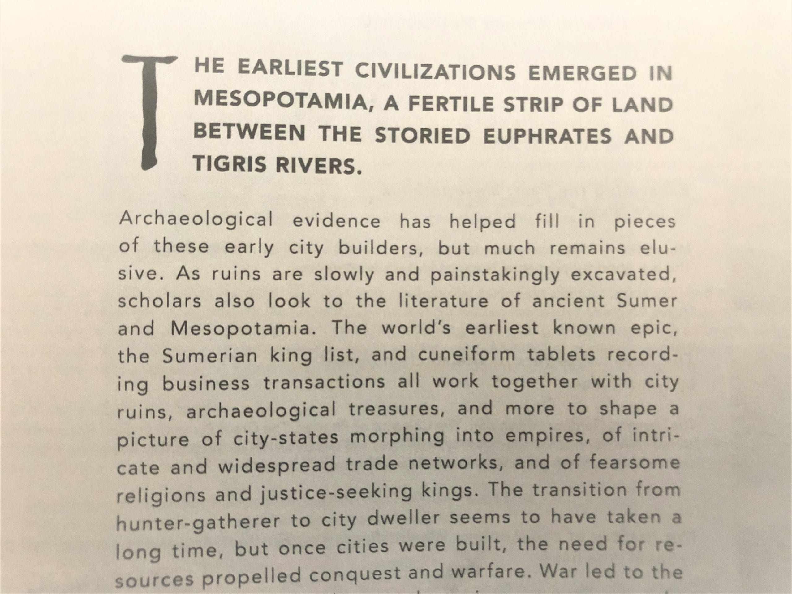 A little text in the guidebook helps students connect archeology with the literature curriculum for a fuller understanding of history.